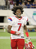 Manatee Hurricanes running back Leon Allen #7 celebrates after the Florida High School Athletic Association 7A Championship Game at Florida's Citrus Bowl on December 16, 2011 in Orlando, Florida.  Manatee defeated First Coast 40-0.  (Photo By Mike Janes Photography)