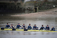 London. United Kingdom,  approaching the Mortlake Brewery, during the 2017. Oxford University, Annual Trial Eights, raced over the Championship Course, Putney to Mortlake. River Thames, <br /> <br /> Wednesday  06/12/2017<br /> <br /> [Mandatory Credit:Peter SPURRIER Intersport Images]<br /> <br /> OUBC Crew Names. <br /> STRONG Black Shirts<br /> Bow. Luke Robinson<br /> 2. Angus Forbes<br /> 3. Nicholas Elkington<br /> 4. Benedict Aldous<br /> 5. Tobias Schroder<br /> 6. Joshua Bugajski<br /> 7. Claas Mertens<br /> Stroke. Felix Drinkall<br /> Cox. Anna Carbery