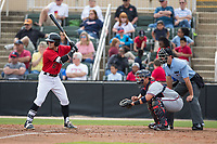 Max Dutto (6) of the Kannapolis Intimidators at bat against the Rome Braves at Kannapolis Intimidators Stadium on April 12, 2017 in Kannapolis, North Carolina.  The Braves defeated the Intimidators 4-3.  (Brian Westerholt/Four Seam Images)