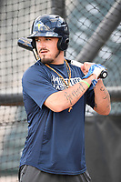 Right fielder Jay Jabs (21) of the Columbia Fireflies takes batting practice before a game against the Charleston RiverDogs on Wednesday, August 29, 2018, at Spirit Communications Park in Columbia, South Carolina. Charleston won, 6-1. (Tom Priddy/Four Seam Images)