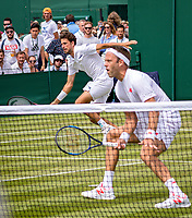 London, England, 4 th. July, 2018, Tennis,  Wimbledon, Men's doubles: Robin Haase (NED) Robert Lindstedt (SWE) (R)<br /> Photo: Henk Koster/tennisimages.com