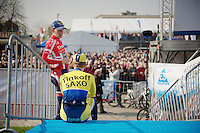 Danish Champion Michael Mørkøv chatting with a teammate next to the start podium<br /> <br /> 57th E3 Harelbeke 2014