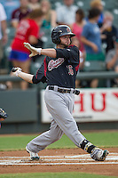 Sacramento River Cats shortstop Andy Parrino (16) follows through on his swing during the Pacific Coast League baseball game against the Round Rock Express on June 19, 2014 at the Dell Diamond in Round Rock, Texas. The Express defeated the River Cats 7-1. (Andrew Woolley/Four Seam Images)