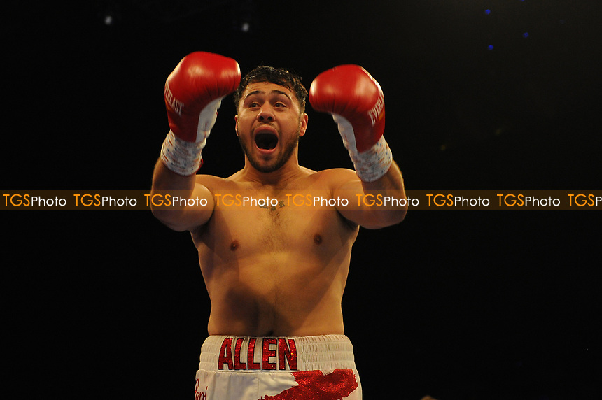 Dave Allen celebrates a first round stoppage win` during a Boxing Show at the Metro Radio Arena on 13th October 2018