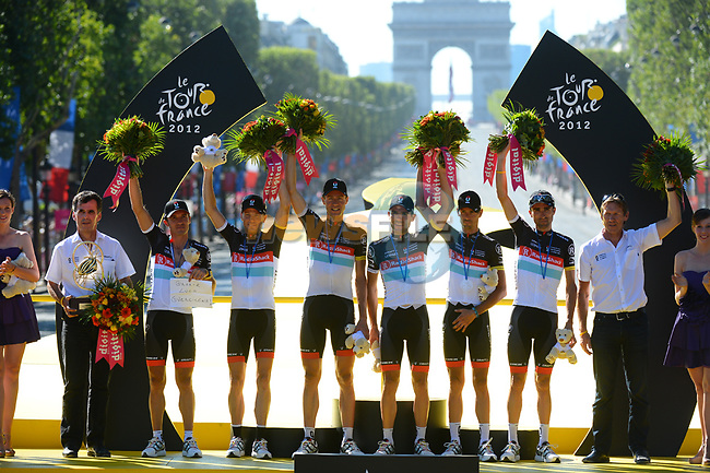 Radioshack-Nissan take the Team prize at the end of stage 20 running from Rambouillet to Paris Champs-Elysees during the 99th edition of the Tour de  France, 22nd July 2012 (Photo by Prevost/L'Equipe/NEWSFILE)