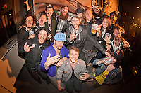Foxy Shazam hanging out after the show with supporting bands Maniac, Cadaver Dogs, & Wilson at The Loft in Lansing, Michigan on April 30, 2012. © Joe Gall / MediaPunch Inc.