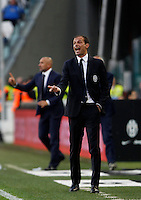 Calcio, Serie A: Juventus vs Cagliari. Torino, Juventus Stadium, 9 maggio 2015. <br /> Juventus coach Massimiliano Allegri gestures during the Italian Serie A football match between Juventus and Cagliari at Turin's Juventus Stadium, 9 May 2015.<br /> UPDATE IMAGES PRESS/Isabella Bonotto