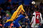 Jaime Mata of Getafe FC and Bruno Varela of AFC Ajax during UEFA Europa League match between Getafe CF and AFC Ajax at Coliseum Alfonso Perez in Getafe, Spain. February 20, 2020. (ALTERPHOTOS/A. Perez Meca)
