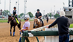 LOUISVILLE, KENTUCKY - MAY 01: Trainer Bob Baffert watches as Game Winner heads back from the track after preparing for the Kentucky Derby at Churchill Downs in Louisville, Kentucky on May 1, 2019. Scott Serio/Eclipse Sportswire/CSM