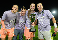 20190430 - OOSTAKKER , BELGIUM : Anderlecht's players Laura De Neve , Laura Deloose , Tine De Caigny and Justien Odeurs (r) pictured celebrating after winning the Superleague Championship after a womensoccer game between  AA Gent Ladies and RSC Anderlecht Dames  , during play-off 1 in the Belgian Women's Superleague, at the PGB Stadium in Oostakker , tuesday 30 th April 2019 . PHOTO SPORTPIX.BE | DAVID CATRY