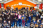 Liam O'Connor (Trad Musician) who was invited to Gaelscoil Mhic Easmainn to entertaine over 300 pupils and teacher on Monday with liam are Jim O'Sullivan and Cait O'Chonchúir (principal)