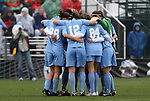 06 December 2009: North Carolina's starters huddle before the start of the game. The University of North Carolina Tar Heels defeated the Stanford University Cardinal 1-0 at Aggie Soccer Stadium in College Station, Texas in the NCAA Division I Women's College Cup Championship game.
