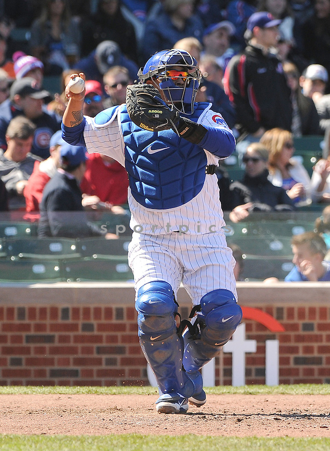 Chicago Cubs Welington Castillo (53) during a game against the San Francisco Giants on April 14, 2013 at Wrigley Field in Chicago, IL. The Giants beat the Cubs 10-7.