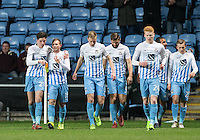 Teammates celebrate with goalscorer Stuart Beavon (2nd left) of Coventry City during the The Checkatrade Trophy - EFL Trophy Semi Final match between Coventry City and Wycombe Wanderers at the Ricoh Arena, Coventry, England on 7 February 2017. Photo by Andy Rowland.