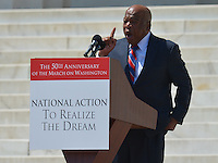 August 24, 2013  (Washington, DC)  Congressman John Lewis speaks to a crowd of thousands on the grounds of the Lincoln Memorial in the District of Columbia during the 50th anniversary of the 1963 March on Washington August 24, 2013. At the time of his speech, Lewis was the only person living to have spoken at the original 1963 rally.  (Photo by Don Baxter/Media Images International)