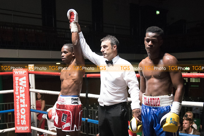 O'Shane Clarke (red shorts) defeats Claudio Paulo during a Boxing Show at York Hall on 2nd September 2016