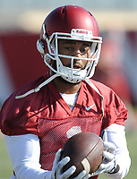 NWA Democrat-Gazette/ANDY SHUPE<br /> Arkansas receiver Jared Cornelius makes a catch Tuesday, March 28, 2017, during spring practice at the UA practice facility in Fayetteville.