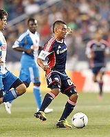 New England Revolution midfielder Fernando Cardenas (80) passes the ball. In a Major League Soccer (MLS) match, the New England Revolution tied Philadelphia Union, 0-0, at Gillette Stadium on September 1, 2012.