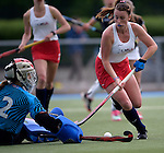 GER - Mannheim, Germany, May 16: During the whitsun tournament girls hockey match between USA (white) and Germany (black) on May 16, 2016 at Mannheimer HC in Mannheim, Germany. Final score 0-1 (HT 0-1). (Photo by Dirk Markgraf / www.265-images.com) *** Local caption ***