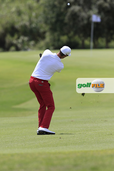 Sebastian Heisele (GER) plays his 2nd shot on the 2nd hole during Saturday's Round 3 of the Open de Portugal 2017 at Morgado Golf Resort, Portimao, Portugal. 13th May 2017.<br /> Picture: Eoin Clarke | Golffile<br /> <br /> <br /> All photos usage must carry mandatory copyright credit (&copy; Golffile | Eoin Clarke)