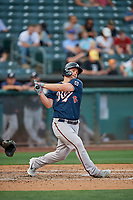 Travis Snider (16) of the Reno Aces bats against the Salt Lake Bees at Smith's Ballpark on June 27, 2019 in Salt Lake City, Utah. The Aces defeated the Bees 10-6. (Stephen Smith/Four Seam Images)