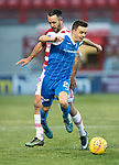 Hamilton Accies v St Johnstone&hellip;09.12.17&hellip;  New Douglas Park&hellip;  SPFL<br />Stefan Scougall is tripped by Dougie Imrie<br />Picture by Graeme Hart. <br />Copyright Perthshire Picture Agency<br />Tel: 01738 623350  Mobile: 07990 594431