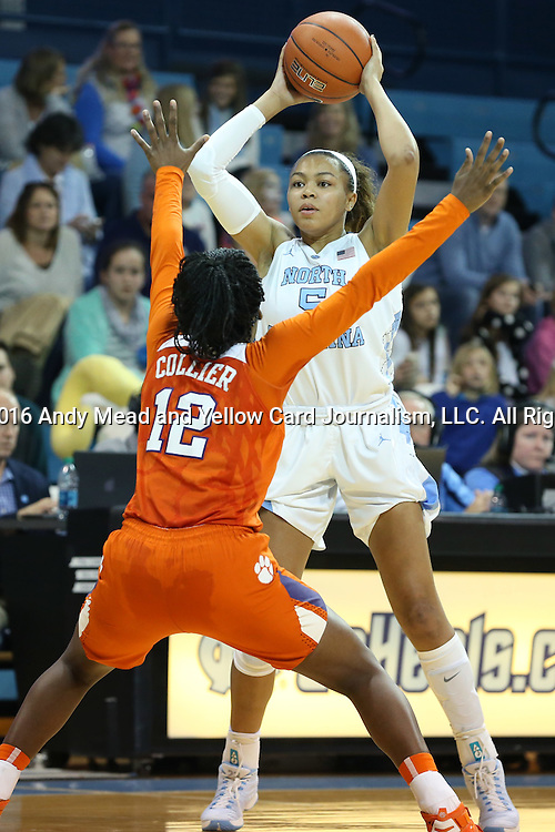 03 January 2016: North Carolina's Stephanie Watts (5) and Clemson's Aliyah Collier (12). The University of North Carolina Tar Heels hosted the Clemson University Tigers at Carmichael Arena in Chapel Hill, North Carolina in a 2015-16 NCAA Division I Women's Basketball game. UNC won the game 72-56.