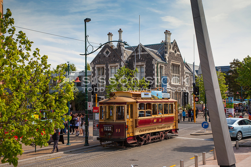 New Zealand Photos | Christchurch tram passes the Arts Centre, Canterbury, New Zealand (pre 2011 earthquake) - stock photo, canvas, fine art print