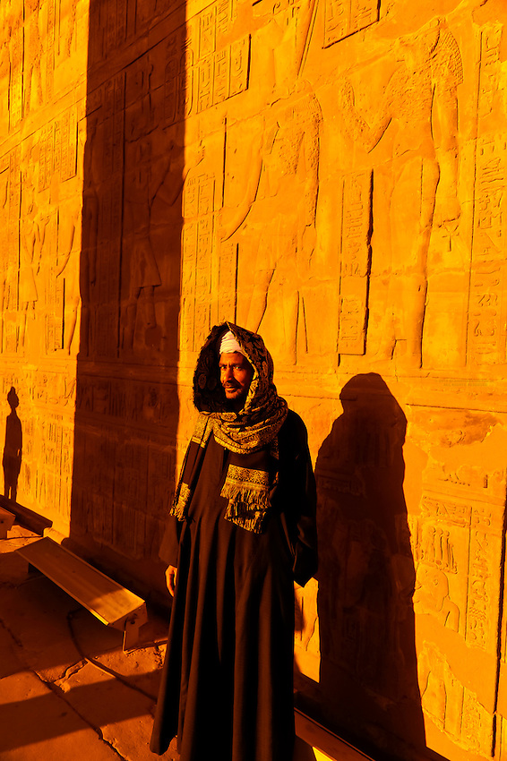 Egyptian man, Temple of Horus, Edfu (on the Nile River), Egypt