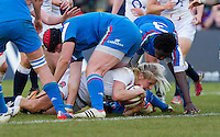 Alex Matthews scores a try, England Women v Italy Women in Women's 6 Nations Match at Twickenham Stoop, Twickenham, England, on 15th February 2015. Final score 39-7.