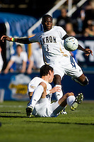 Akron's Kofi Sarkodie (8) clears a ball in the midfield. 2010 NCAA D1 College Cup Championship Final Akron defeated Louisville 1-0 at Harder Stadium on the campus of UCSB in Santa Barbara, California on Sunday December 12, 2010.