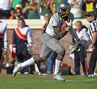 Oregon wide receiver Josh Huff (1) Oregon defeated Virginia 59-10 Saturday at Scott Stadium in Charlottesville, VA. Photo/Andrew Shurtleff