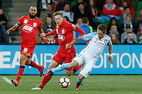 Melbourne, 28 October 2016 - FERNANDO BRANDAN (27) of Melbourne City is fouled in the round 4 match of the A-League between Melbourne City and Adelaide United at AAMI Park, Melbourne, Australia. Melbourne won 2-1 (Photo Sydney Low / sydlow.com)
