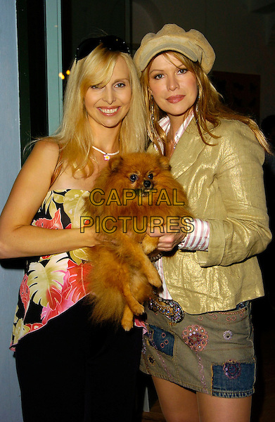 ANNEKA SVENSKA & CINDY JACKSON.The Launch of the new Mutz Nutz pet boutique, Westbourne Park Road, London, UK..August 23rd, 2006.Ref: CAN.half length jean denim dog pet animals skirt gold jacket hat.www.capitalpictures.com.sales@capitalpictures.com.©Can Nguyen/Capital Pictures