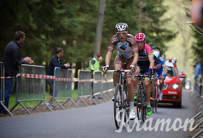 Matteo Montagutti (ITA/Ag2r-La Mondiale) leads the (remaining) breakaway group over the Côte de Stockeu (2300m/9.9%)<br /> <br /> 101th Liège-Bastogne-Liège 2015