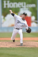 Asheville Tourists pitcher Logan Sawyer (34) delivers a pitch during a game against the Rome Braves on May 17, 2015 in Asheville, North Carolina. The Tourists defeated the Braves 9-8. (Tony Farlow/Four Seam Images)