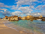 Virgin Gorda, British Virgin Islands in the  Caribbean<br /> Protected pool surrounded by granite boulders on the beach known as The Crawl in Spring Bay National Park