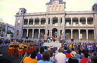The King and his Royal Court begin the procession leading to the front steps of Iolani Palace to commence Aloha Week festivities on Oahu.