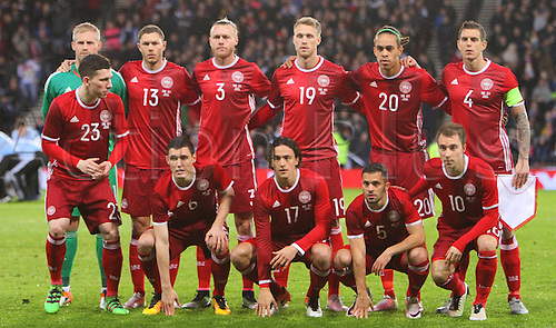29.03.2016. Hampden Park, Glasgow, Scotland. International Football Friendly Scotland versus Denmark.  Denmark players pre match line up