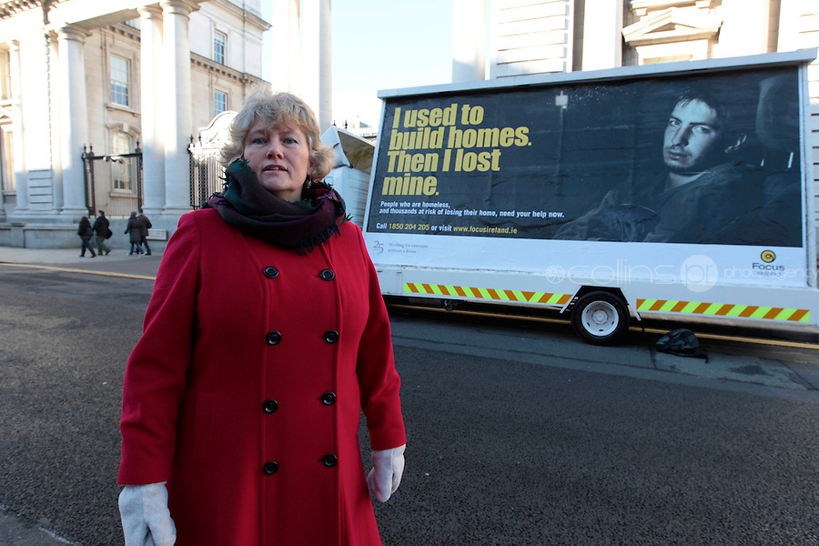 NO FEE PICTURES 14/11/10 Joyce Loughnane, CEO Focus Ireland, Focus Ireland launched a new hard-hitting campaign outside Government Buildings (Sunday Nov 14th) with a poster highlighting people who are homeless due to the recession.  The campaign kicks off later this week with billboard, outdoor and radio ads to highlight the different faces of homelessnes. Picture:Arthur Carron/Collins