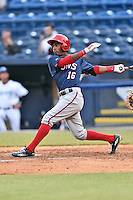Hagerstown Suns center fielder Victor Robles (16) swings a pitch during a game against the Asheville Tourists at McCormick Field on April 27, 2016 in Asheville, North Carolina. The Tourists defeated the Suns 14-7. (Tony Farlow/Four Seam Images)