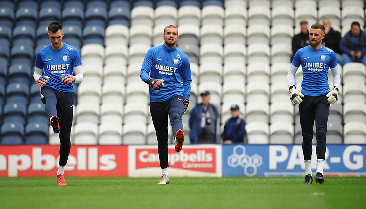 Preston North End's Mathew Hudson, Michael Crowe and Declan Rudd during the pre-match warm-up <br /> <br /> Photographer Kevin Barnes/CameraSport<br /> <br /> The EFL Sky Bet Championship - Preston North End v Barnsley - Saturday 5th October 2019 - Deepdale Stadium - Preston<br /> <br /> World Copyright © 2019 CameraSport. All rights reserved. 43 Linden Ave. Countesthorpe. Leicester. England. LE8 5PG - Tel: +44 (0) 116 277 4147 - admin@camerasport.com - www.camerasport.com