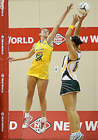 25.10.2012 Australia's Rebecca Bulley and South Africa's Chrisna Bootha in action during the England v Australia netball test match as part of the Quad Series played at the TSB Arena Wellington. Mandatory Photo Credit ©Michael Bradley.