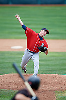 New Hampshire Fisher Cats relief pitcher Zach Jackson (12) delivers a pitch during a game against the Erie SeaWolves on June 20, 2018 at UPMC Park in Erie, Pennsylvania.  New Hampshire defeated Erie 10-9.  (Mike Janes/Four Seam Images)
