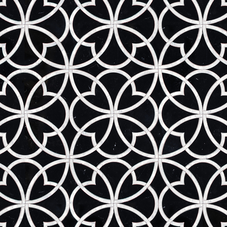 Lombard, a stone waterjet mosaic, shown in polished Nero Marquina and Shell.