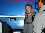 Feb 28, 2015; Spokane, WA, USA; Gonzaga Bulldogs forward Domantas Sabonis waits to get his bags after returning home from a game against the Duke Blue Devils at the McCarthey Athletic Center. Mandatory Credit: James Snook-USA TODAY Sports