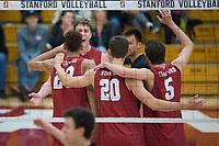 STANFORD, CA - December 30, 2017: Eric Beatty, Jaylen Jasper, Cole Paullin, JP Reilly, Evan Enriques at Burnham Pavilion. The Stanford Cardinal defeated the Calgary Dinos 3-1.