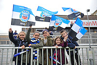 Bath fans show their support. Amlin Challenge Cup quarter-final, between Bath Rugby and CA Brive on April 6, 2014 at the Recreation Ground in Bath, England. Photo by: Patrick Khachfe / Onside Images
