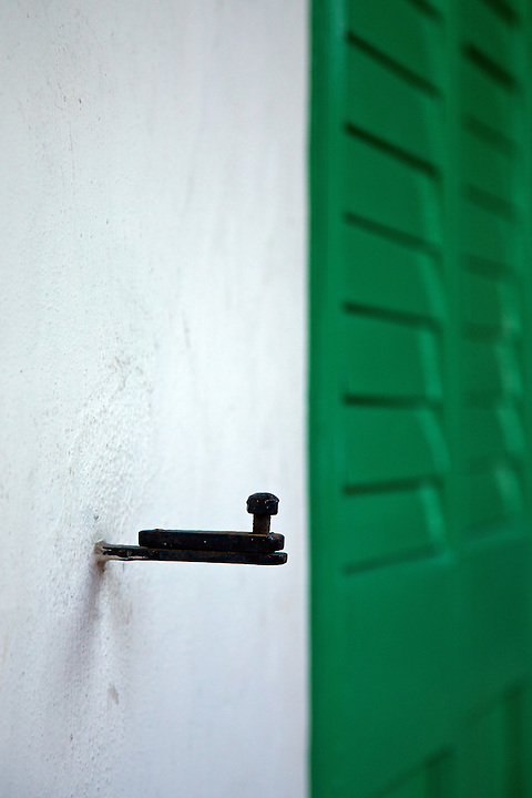 Window shutter catch at the former Kowloon British School, Nathan Road, Kowloon.