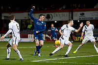 3rd March 2020; Dens Park, Dundee, Scotland; Scottish Championship Football, Dundee FC versus Alloa Athletic; Scott Taggart of Alloa Athletic blocks an effort from Jordan McGhee of Dundee